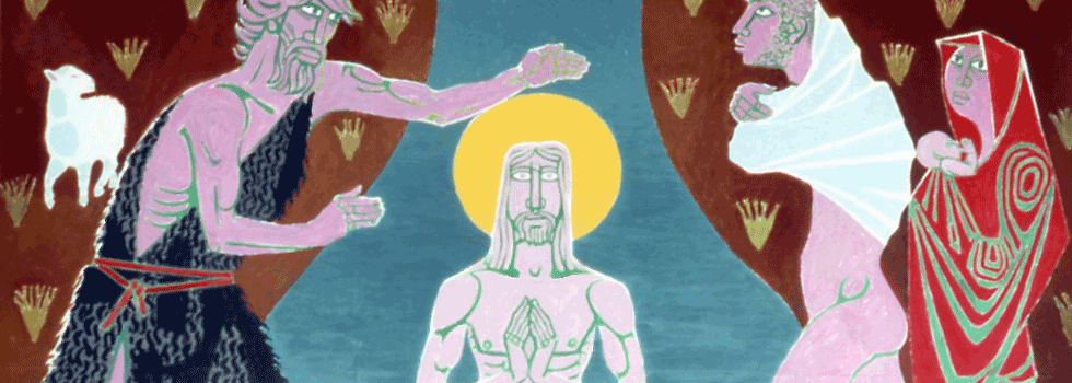'The Baptism of Jesus Christ' by Marek Zulawski, 1982, Our Lady's Church in St John's Woods
